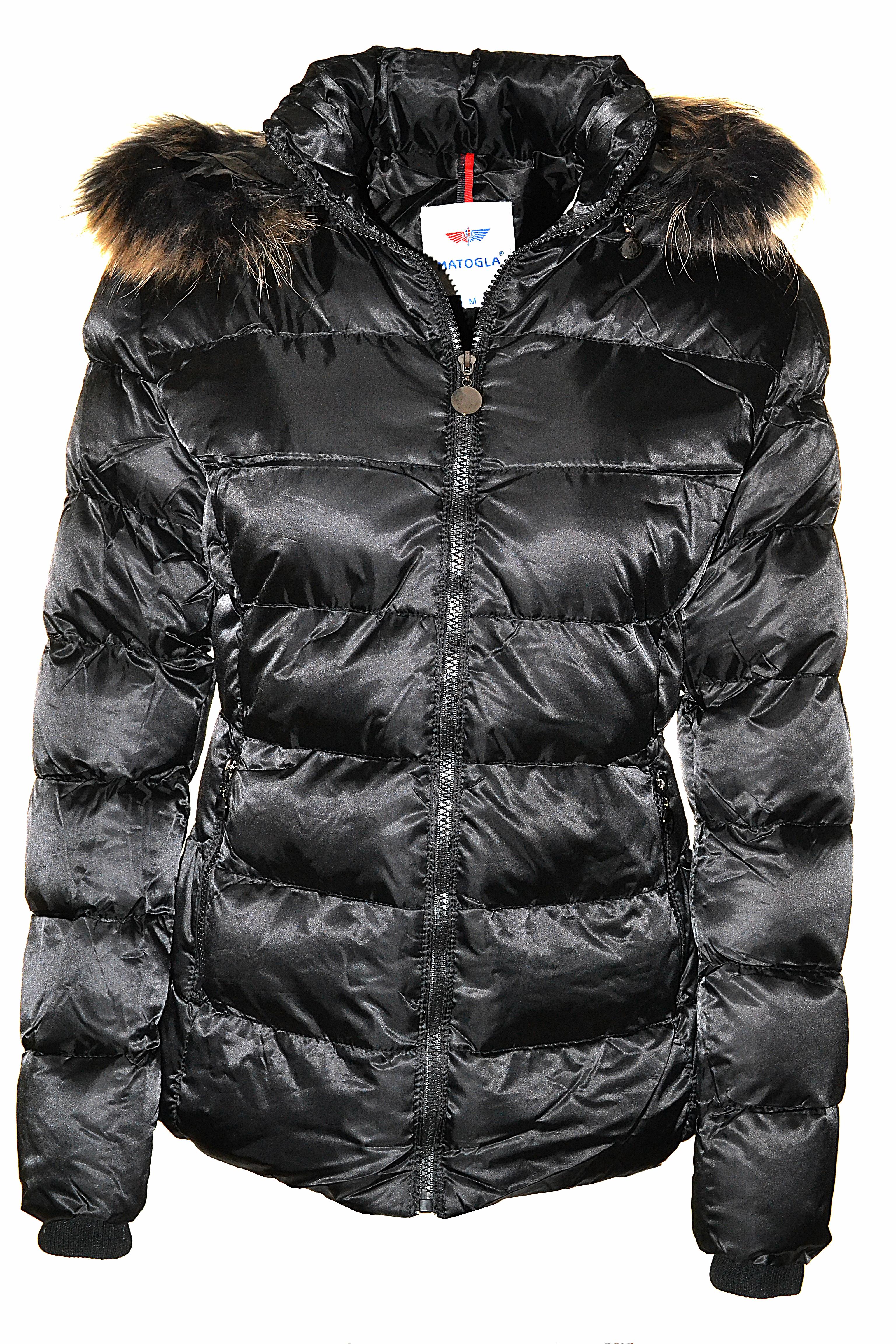 Zwart gewatteerd gevoerde jas