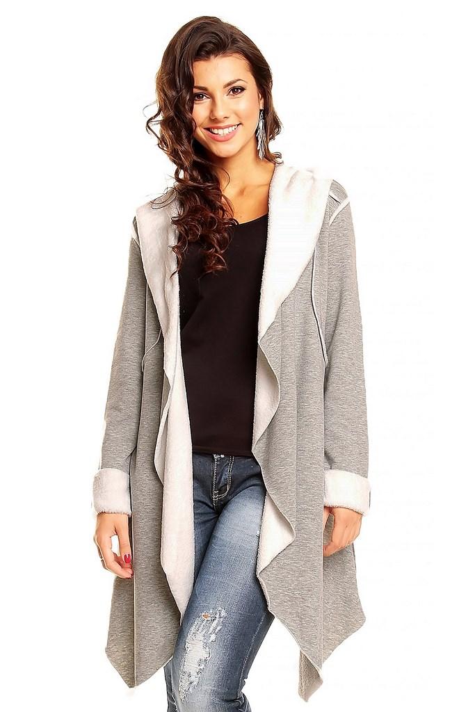 Lang licht grijze wollige vest Women Like Fashion